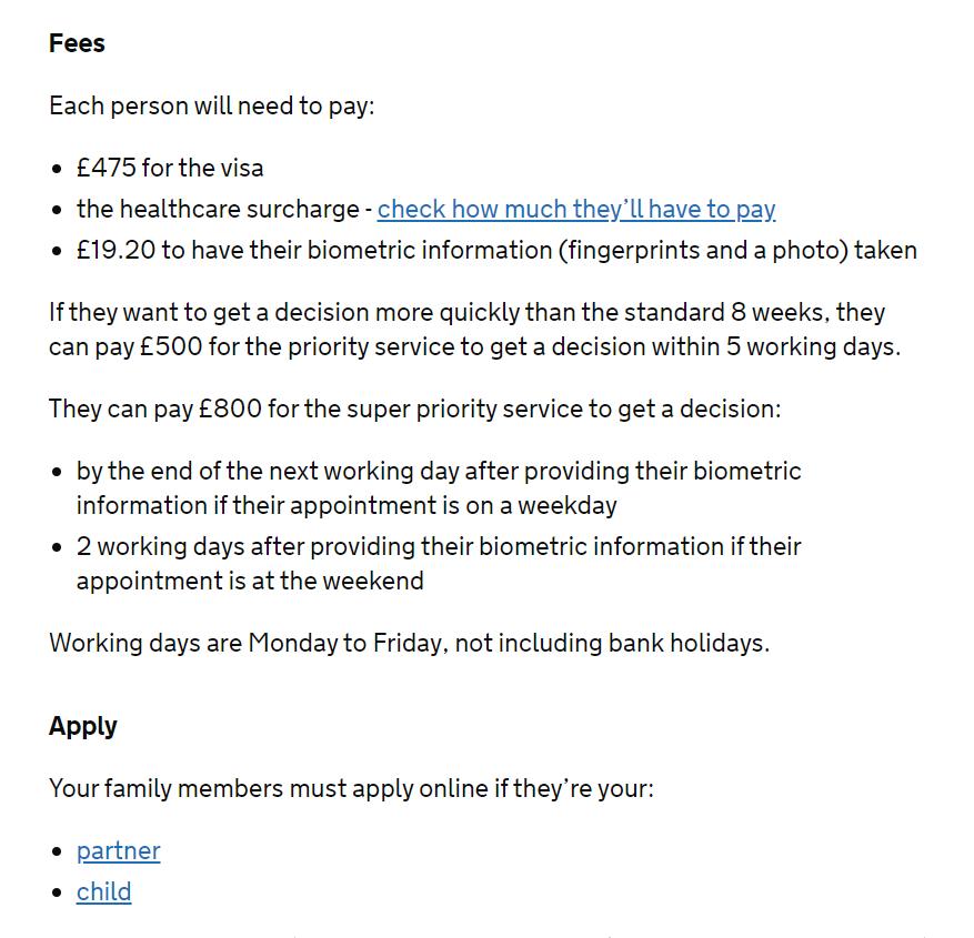 dependent visa fees
